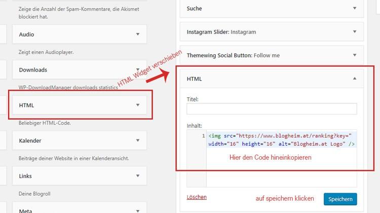 Screen Wordpress Widgets